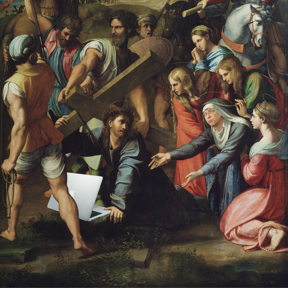 Jesus Christ pleads to Bill Gates at the Procession to Calvary.