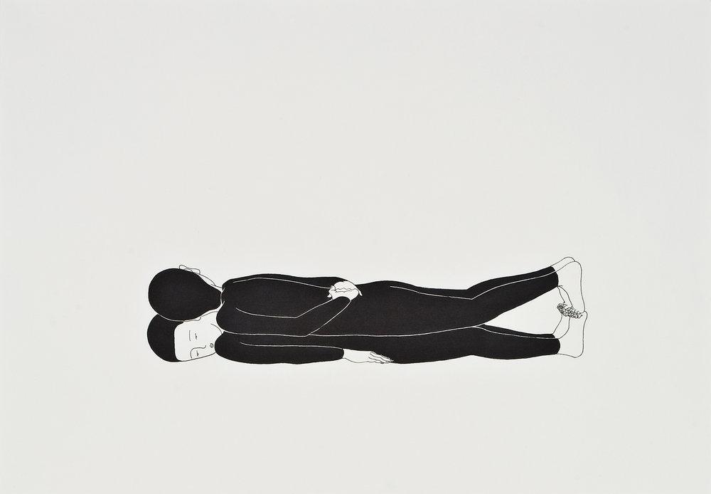 너의 무게 / Weight of you Op. 0004P -42 x 29.7 cm,종이에 펜, 마커 / Pigment liner and marker on paper, 2009