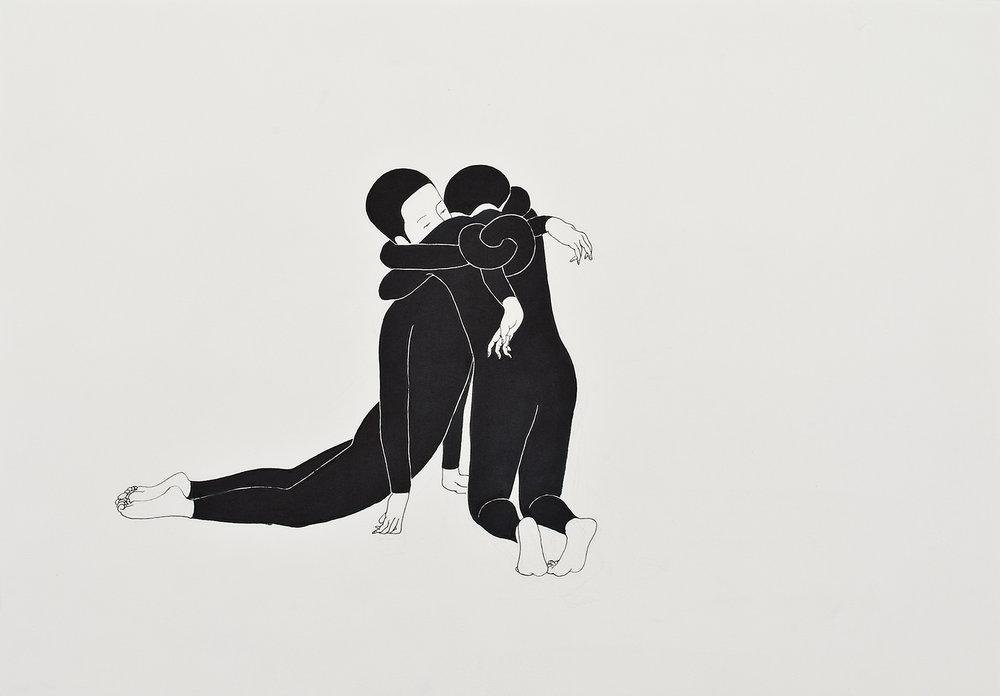 우리에게 꽉 끼는 나 / I'm too tight for us Op. 0009P -42 x 29.7 cm,종이에 펜, 마커 / Pigment liner and marker on paper, 2009