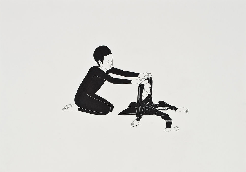 너는 너였다  /  You were you   Op.0015P -42 x 29.7 cm,종이에 펜, 마커 / Pigment liner and marker on paper, 2009