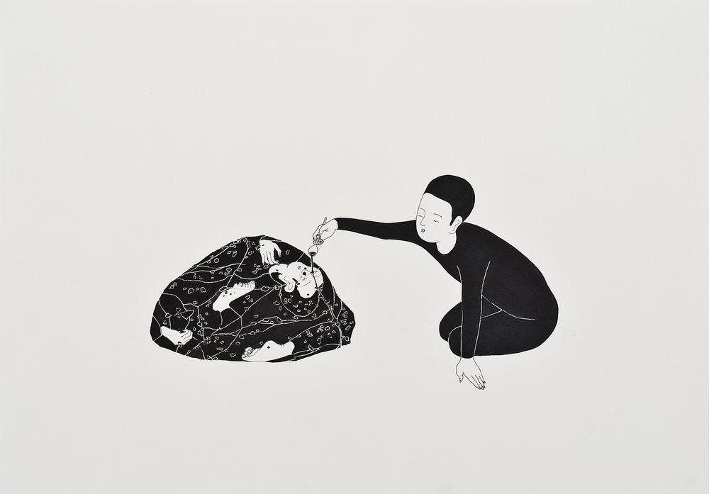 붓다 / Buddha Op.0016P -42 x 29.7 cm,종이에 펜, 마커 / Pigment liner and marker on paper, 2009