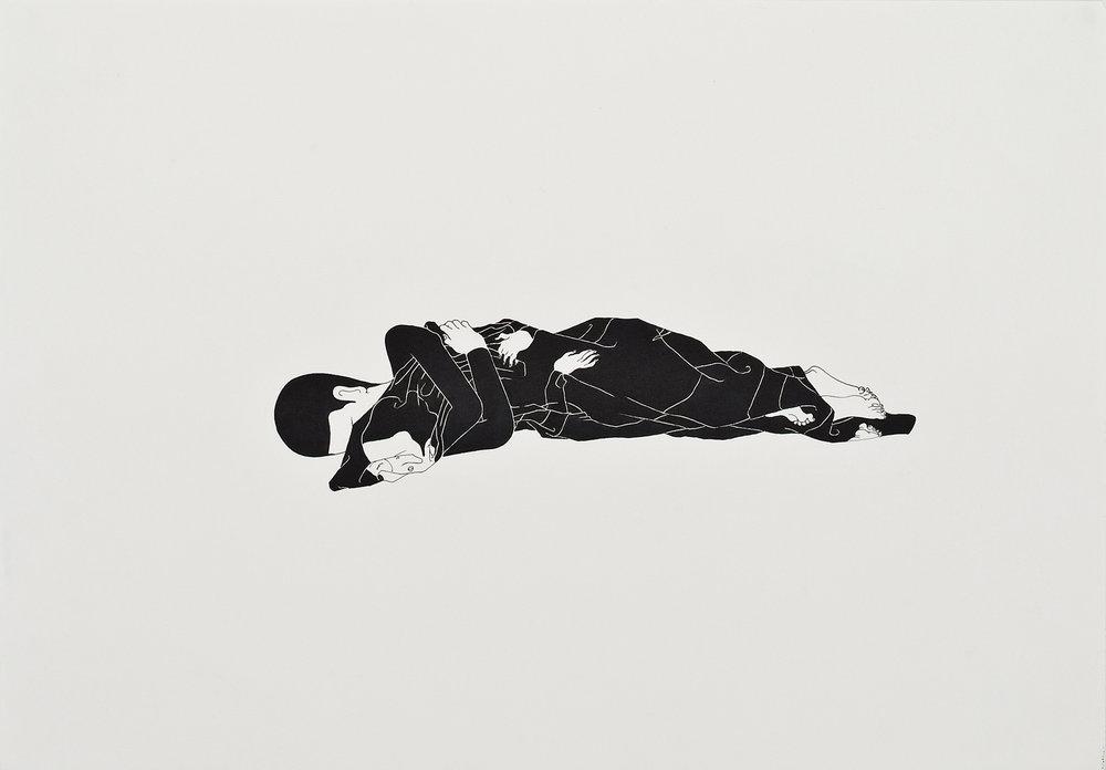 너로된 이불 / Blanket of you Op.0017P -42 x 29.7 cm,종이에 펜, 마커 / Pigment liner and marker on paper, 2009