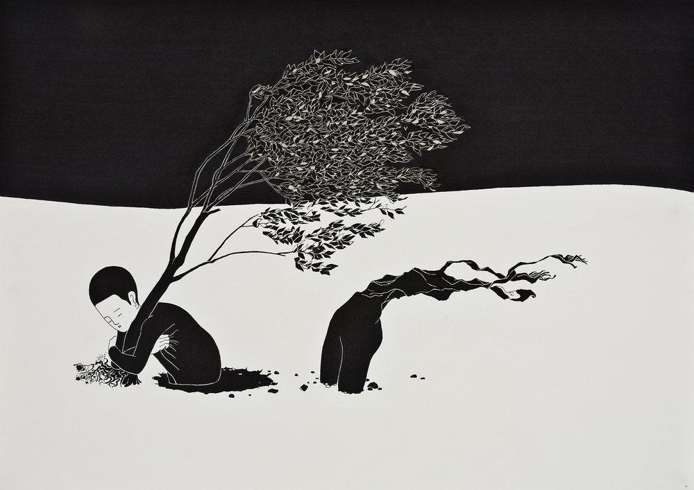 자연스러움 / Natural Op.0022P -42 x 29.7 cm,종이에 펜, 마커 / Pigment liner and marker on paper, 2009