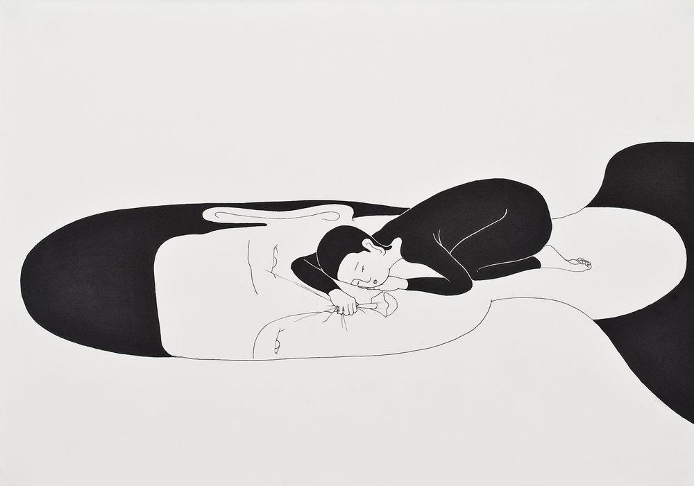 너의 위 / On you Op.0028P -42 x 29.7 cm,종이에 펜, 마커 / Pigment liner and marker on paper, 2009