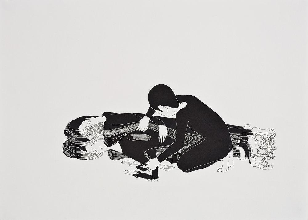 네가 좋았던 순간 / The moment that I loved you Op. 0033P -42 x 29.7 cm,종이에 펜, 마커 / Pigment liner and marker on paper, 2009