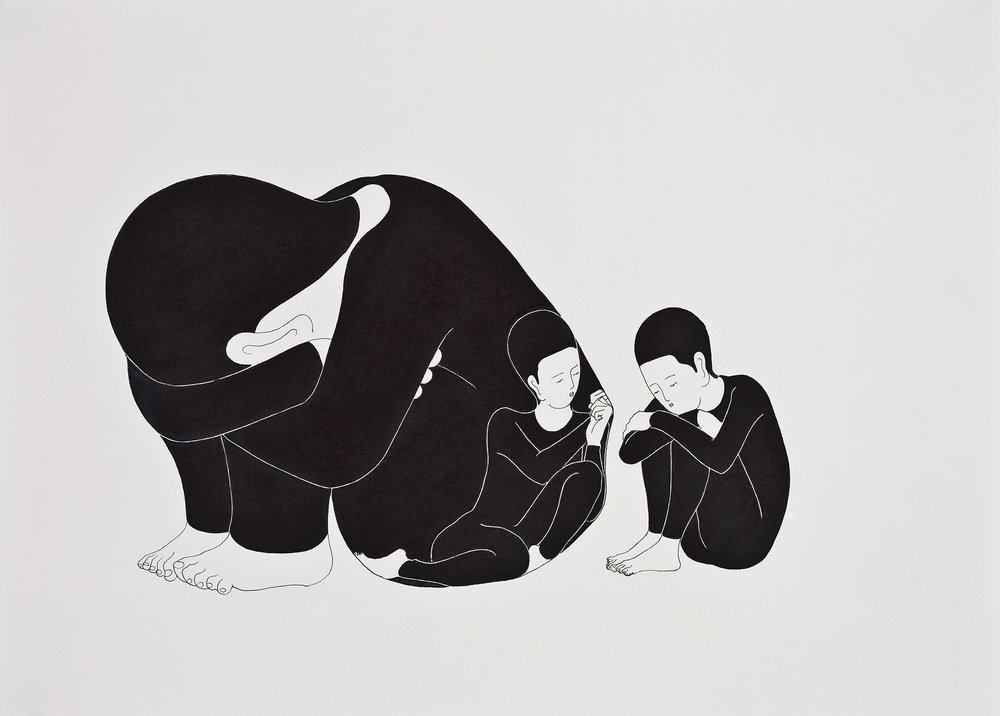 나와 함께 없어줘   /   Be with and without me  Op. 0034P - 42 x 29.7 cm, 종이에 펜, 마커 / Pigment liner and marker on paper, 2009
