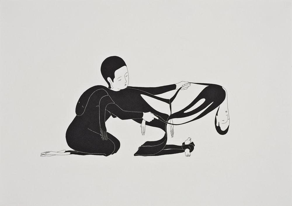 보여줄 수 없는 보이지 않는 것 / Visible invisible Op.0035P -42 x 29.7 cm,종이에 펜, 마커 / Pigment liner and marker on paper, 2010