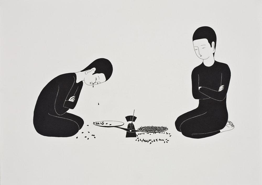 경쟁하는 슬픔 / Tear drop competition Op.0036P -42 x 29.7 cm,종이에 펜, 마커 / Pigment liner and marker on paper, 2010