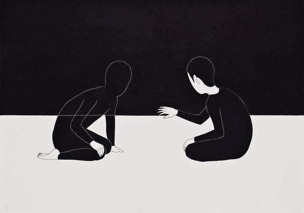 외로운 장면 / Draw a curtain Op.0042P -42 x 29.7 cm,종이에 펜, 마커 / Pigment liner and marker on paper, 2010