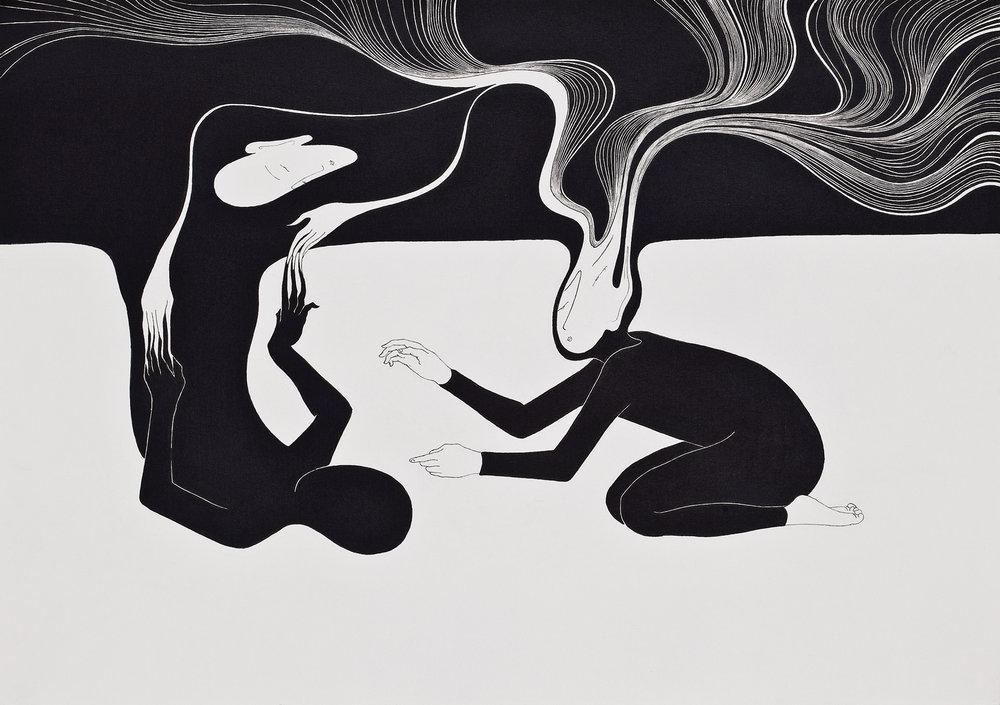 자기동일성 / I always go back to me Op.0043P -42 x 29.7 cm,종이에 펜, 마커 / Pigment liner and marker on paper, 2010