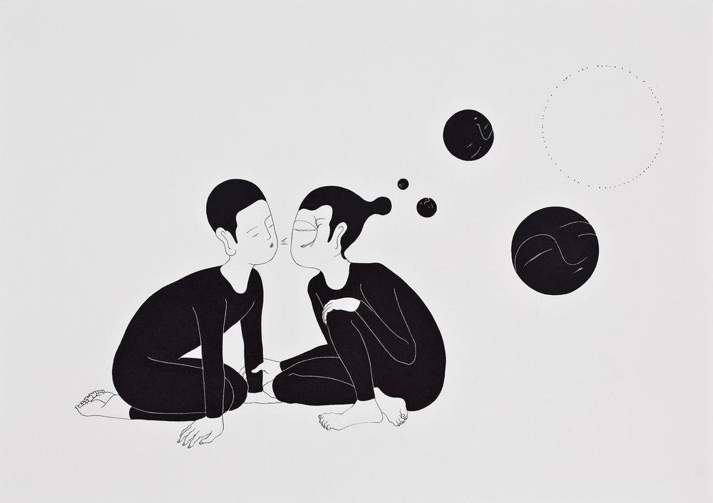 훅 / Blow your mind Op.0046P -42 x 29.7 cm,종이에 펜, 마커 / Pigment liner and marker on paper, 2010