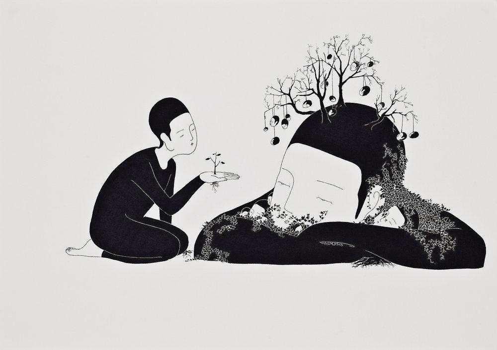 무제 / Untitled Op.0049P -42 x 29.7 cm,종이에 펜, 마커 / Pigment liner and marker on paper, 2010