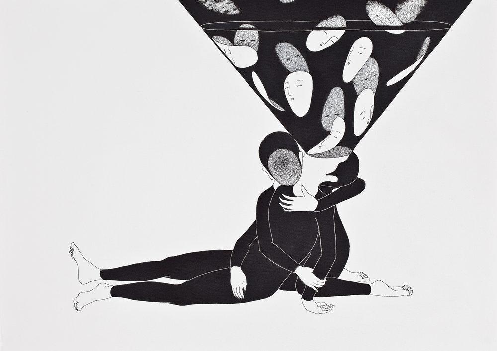시간의 직면 / Face the whole (Martini) Op.0050P -42 x 29.7 cm,종이에 펜, 마커 / Pigment liner and marker on paper, 2011