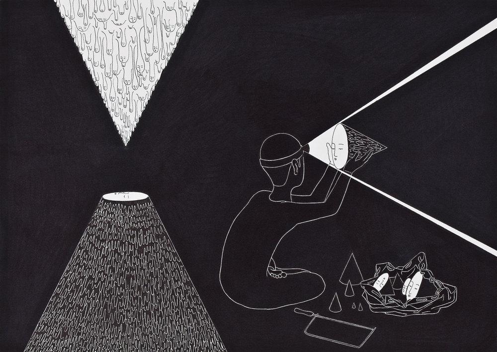 동굴동굴 / You are (a) mine Op 0052P -42 x 29.7 cm,종이에 펜, 마커 / Pigment liner and marker on paper, 2011