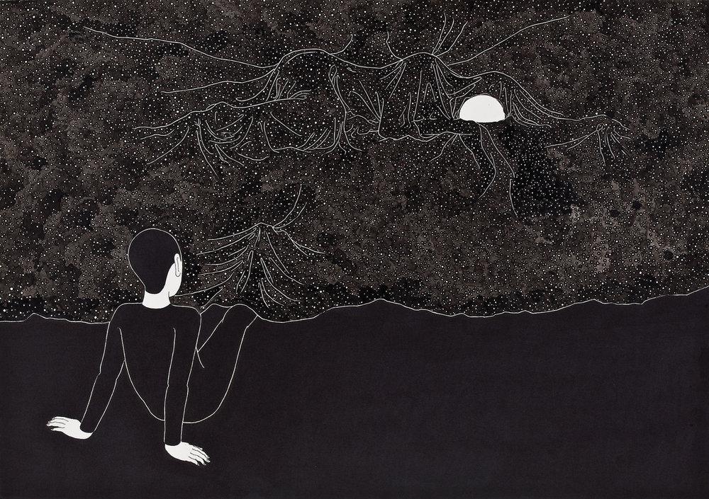 밤에 / Part of universe Op. 0053P -42 x 29.7 cm,종이에 펜, 마커, 잉크 / Pigment liner, marker, and ink on paper, 2011