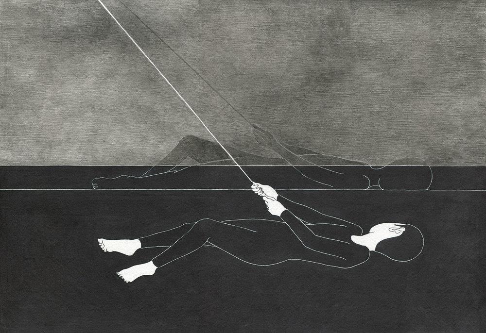 반야 半夜 / A night scene Op .0054P -42 x 29.7 cm,종이에 펜, 마커, 잉크 / Pigment liner, marker, and ink on paper, 2012