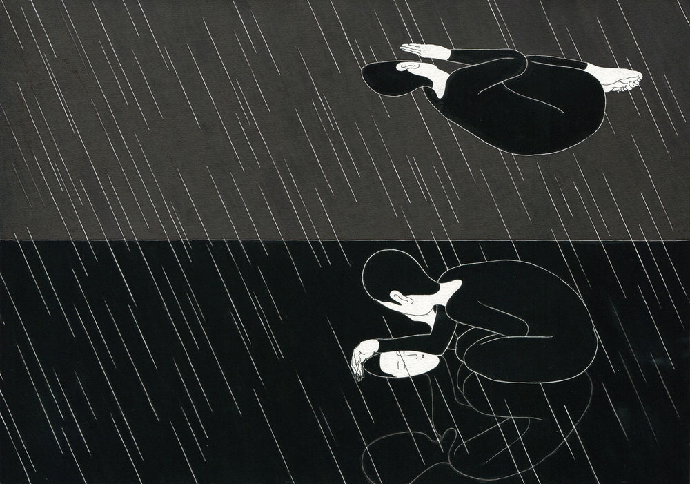 비애   /   When it rains   Op. 0055P - 42 x 29.7 cm, 종이에 펜, 마커, 잉크 / Pigment liner, marker, and ink on paper, 2012