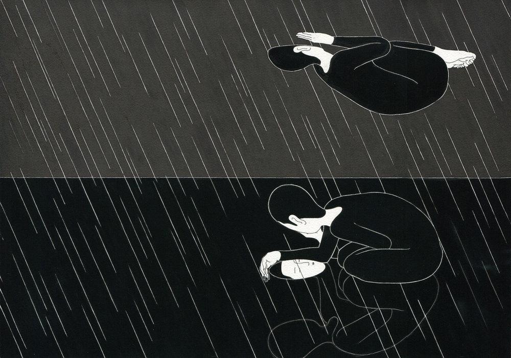 비애 / When it rains Op. 0055P -42 x 29.7 cm,종이에 펜, 마커, 잉크 / Pigment liner, marker, and ink on paper, 2012