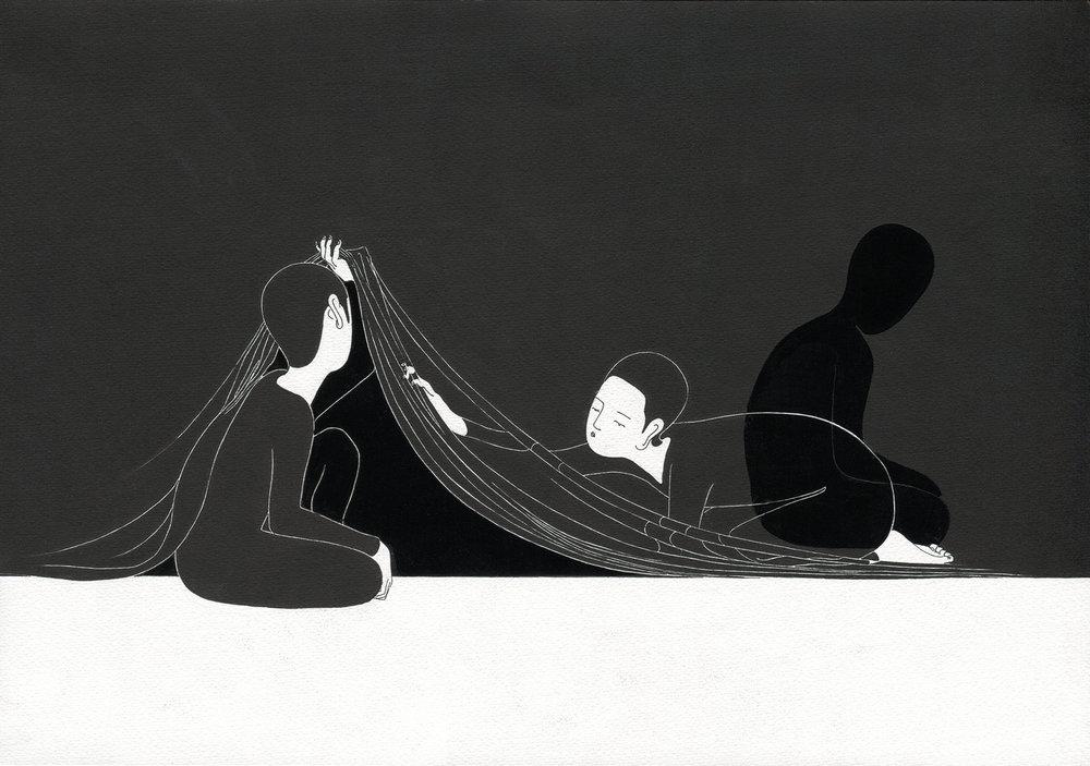 너의 보기 / Example of you Op.0056P -42 x 29.7 cm,종이에 펜, 마커, 잉크 / Pigment liner, marker, and ink on paper, 2012