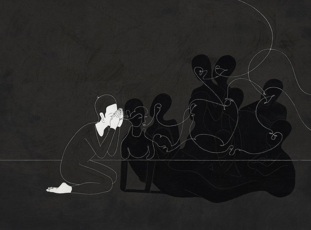 우리의 탄생 / Birth of Us Op.0057P -57 x 38 cm,종이에 펜, 마커, 잉크 / Pigment liner, marker, and ink on paper, 2012