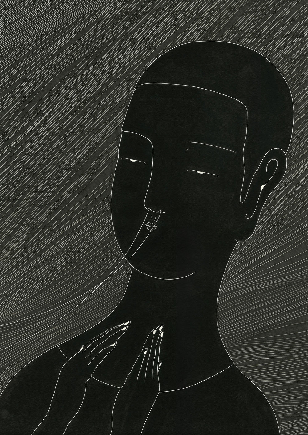 숨 / Inspiration Op.0059P -29.7 x 42 cm,종이에 펜, 마커, 잉크 / Pigment liner, marker, and ink on paper, 2012