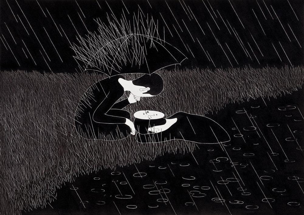 비와 / The rain comes whenever I wish Op.0061C -42 x 29.7 cm,종이에 펜, 마커, 잉크 / Pigment liner, marker, and ink on paper, 2012