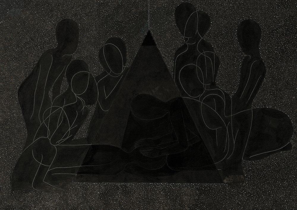 흙빛 / Dark Matter Op. 0067P -42 x 29.7 cm,종이에 펜, 마커, 잉크 / Pigment liner, marker, and ink on paper, 2013