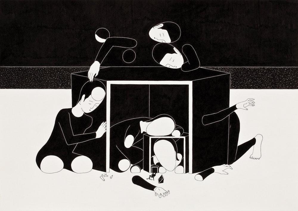 행복의 단면 / Happy End Op.0069P -42 x 29.7 cm,종이에 펜, 마커, 잉크 / Pigment liner, marker, and ink on paper, 2013