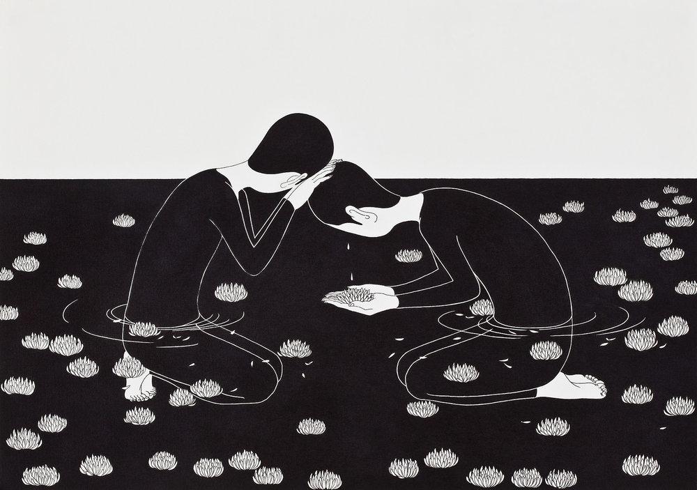 빛나는 아픔 / The Value of Suffering Op.0071C -42 x 29.7 cm,종이에 펜, 마커 / Pigment liner and marker on paper, 2013