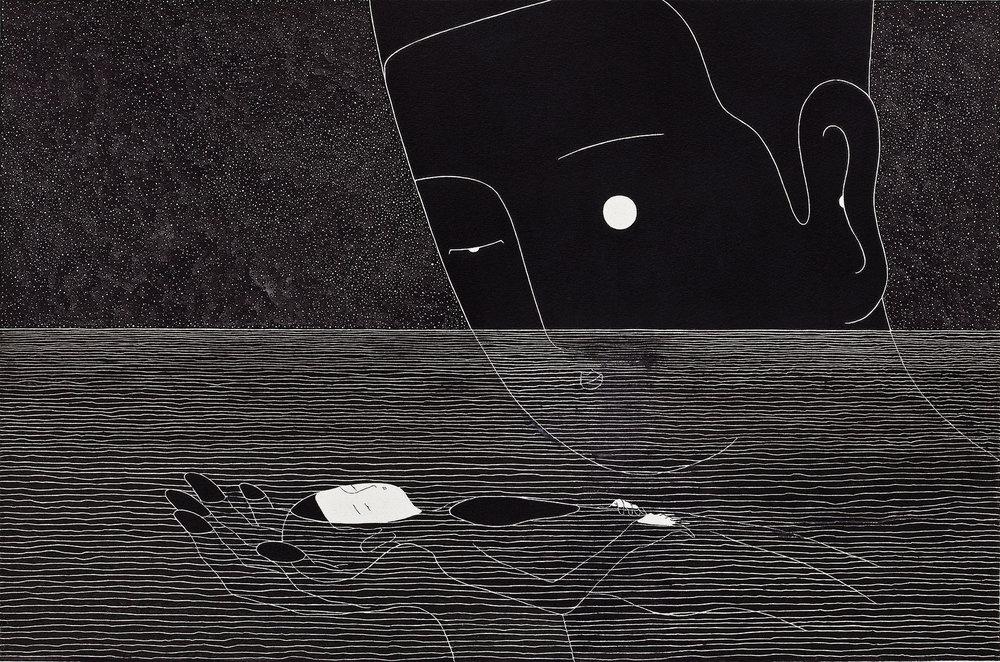 달빛 섬 / L'île nue Op.0076F -49.3 x 32 cm,종이에 펜, 마커, 잉크 / Pigment liner, marker, and ink on paper, 2014 Asked by HNN