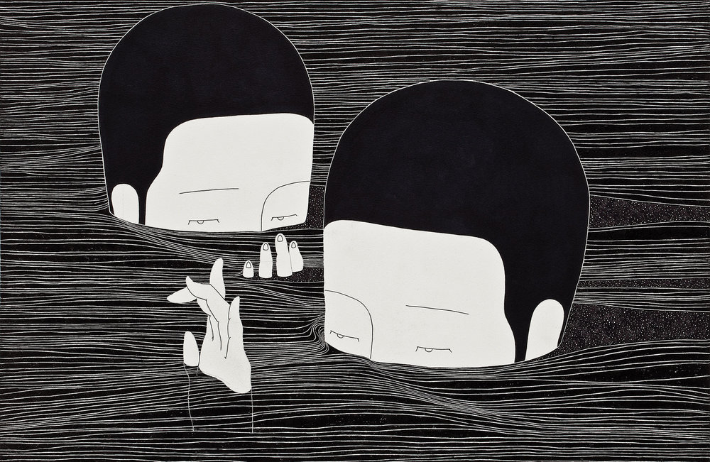 여기, 지금 / Between the lines Op.0075F -49.3 x 32 cm,종이에 펜, 마커, 잉크 / Pigment liner, marker, and ink on paper, 2014 Asked by HNN