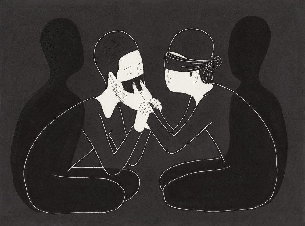 쉿! 눈 감아! / See the silence Op.0077CS-1 -27 x 20 cm,종이에 펜, 마커, 잉크 / Pigment liner, marker, and ink on paper, 2014 Commissioned by HoheLuft Magazine