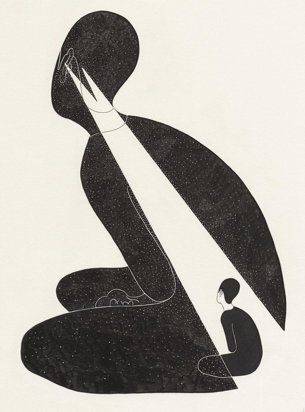 자기 안의 방 / Being in me Op.0077CS-3 -21 x 29.7 cm,종이에 펜, 마커, 잉크 / Pigment liner, marker, and ink on paper, 2014 Commissioned by HoheLuft Magazine