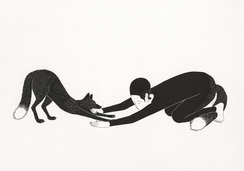 기지개 / Stretch Op.0078CS-1 -42 x 29.7 cm,종이에 펜, 마커 / Pigment liner and marker on paper, 2014 Commissioned by Maison Kitsuné