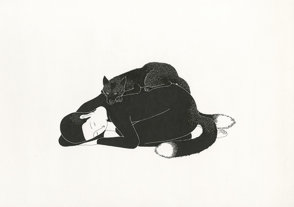 포옹   /   Cuddle   Op. 0078CS-3 - 42 x 29.7 cm, 종이에 펜, 마커 / Pigment liner and marker on paper, 2014   Commissioned by Maison Kitsuné