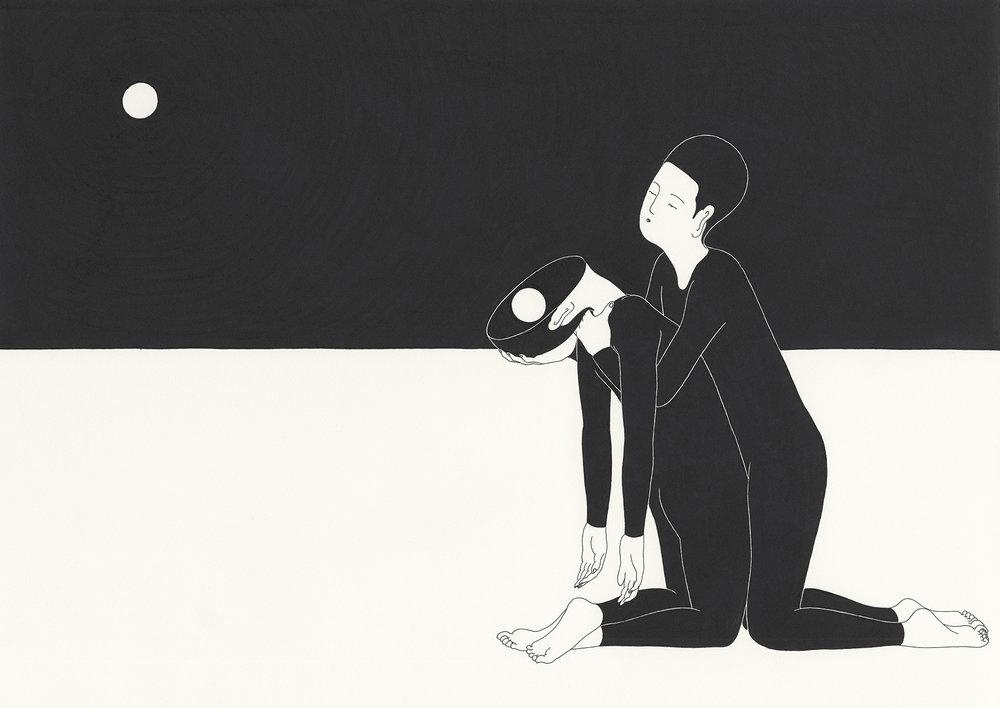 너에게서 온 빛 / You, with the moon in the mirror Op.0079C -42 x 29.7 cm,종이에 펜, 마커 / Pigment liner and marker on paper, 2014 Commissioned by Sea Oleena