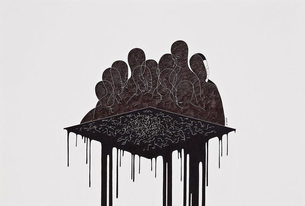 경계를 버리는 경계 / Loose yourself to dark Op.0081P -56.5 x 38 cm,종이에 펜, 마커, 잉크 / Pigment liner, marker, and ink on paper, 2014