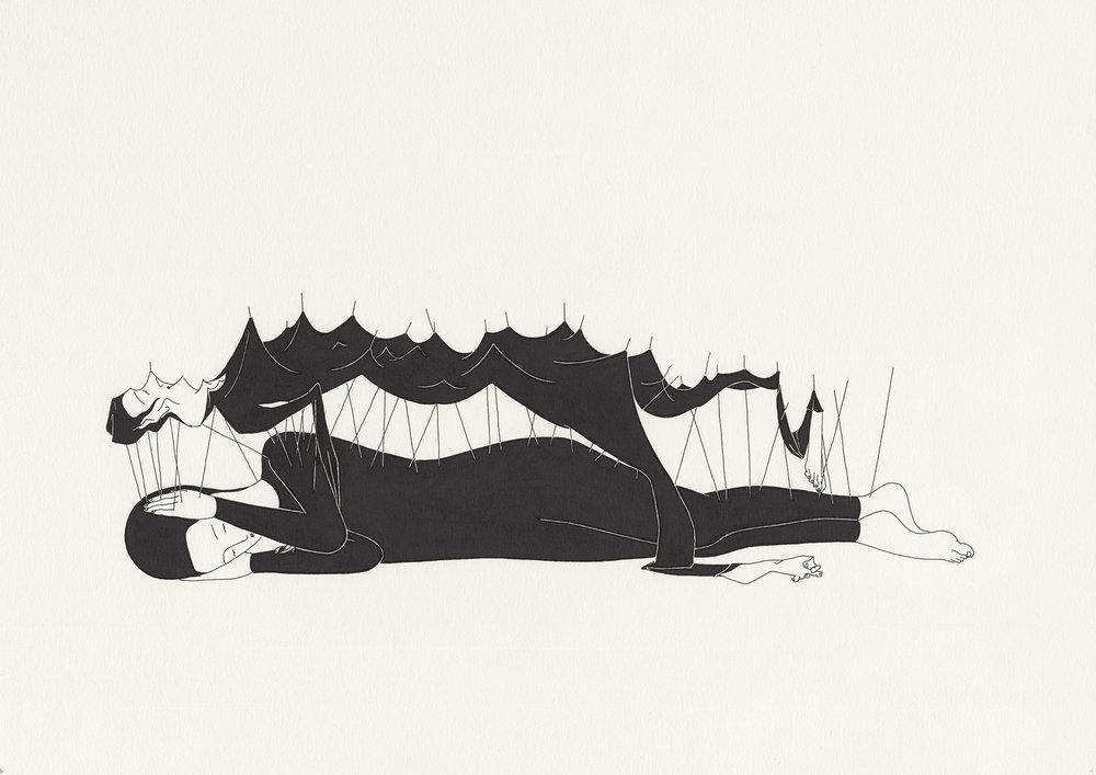 위장고독 / Pain-proof Op.0088P -42 x 29.7 cm,종이에 펜, 마커 / Pigment liner and marker on paper, 2014