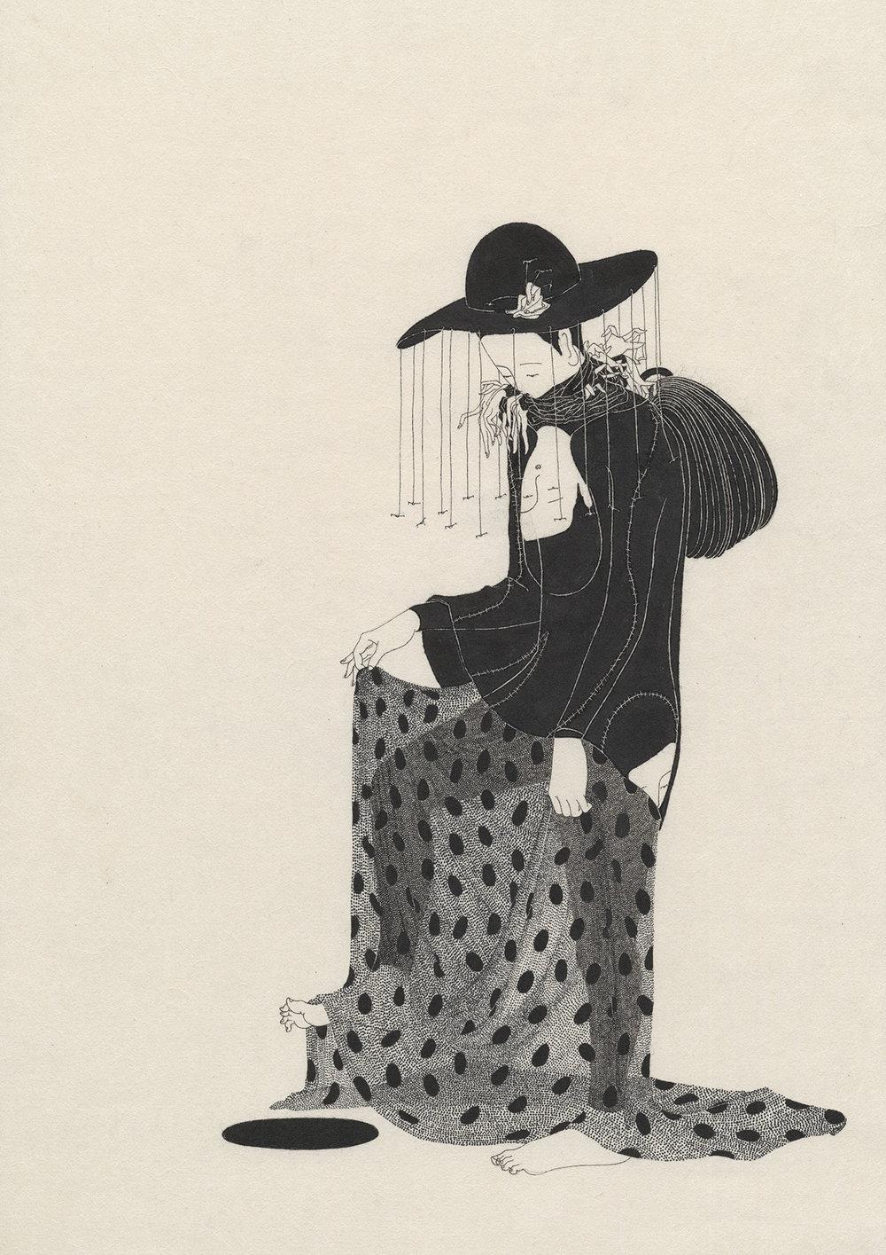 너 나부랭이 / You wore you Op.0089P -36 x 74 cm,한지에 먹 / Korean ink on Korean paper, 2014