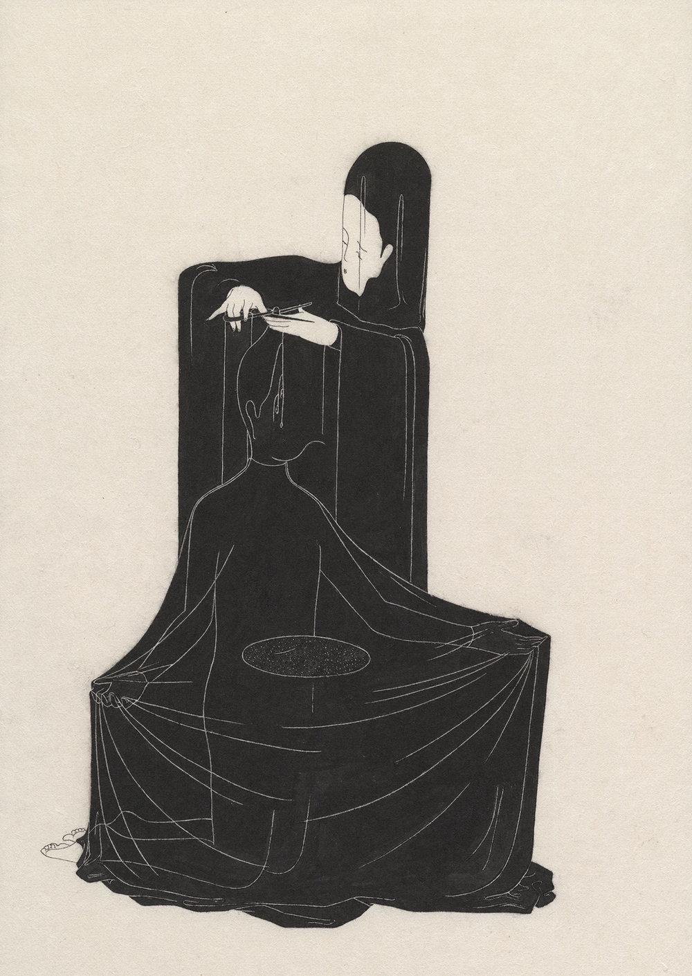 두절 / A barber Op.0091P -36 x 74 cm,한지에 먹 / Korean ink on Korean paper, 2014