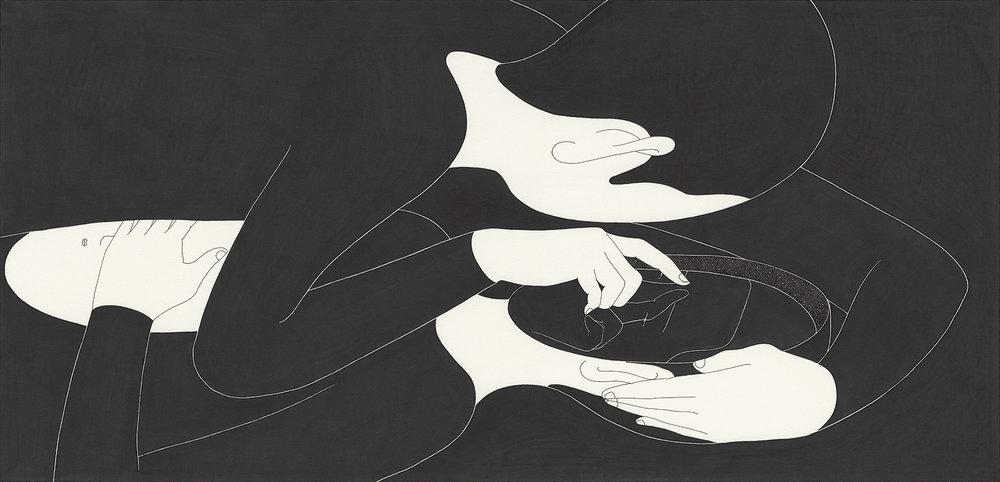 너는 나의 반영 / You mirrored me Op.0092F -49.5 x 31.7 cm,종이에 펜, 마커, 잉크 / Pigment liner, marker, and ink on paper, 2015