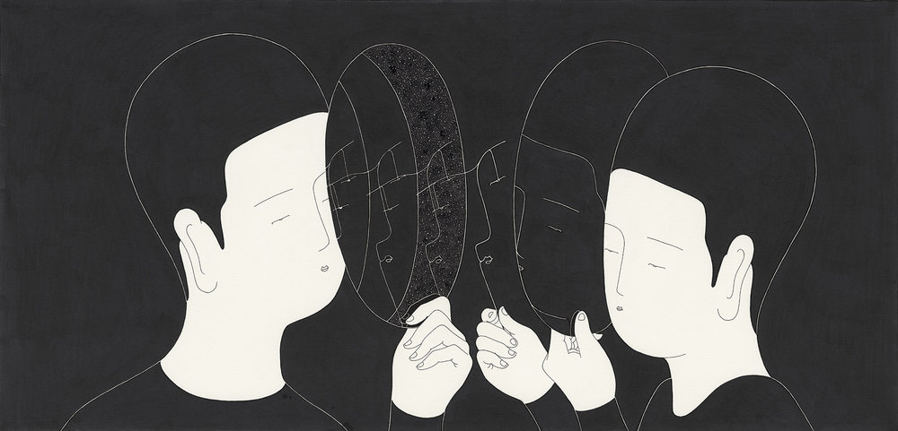 무의미한 대화 / We see ourselves Op.0093F -49.5 x 31.7 cm,종이에 펜, 마커, 잉크 / Pigment liner, marker, and ink on paper, 2015