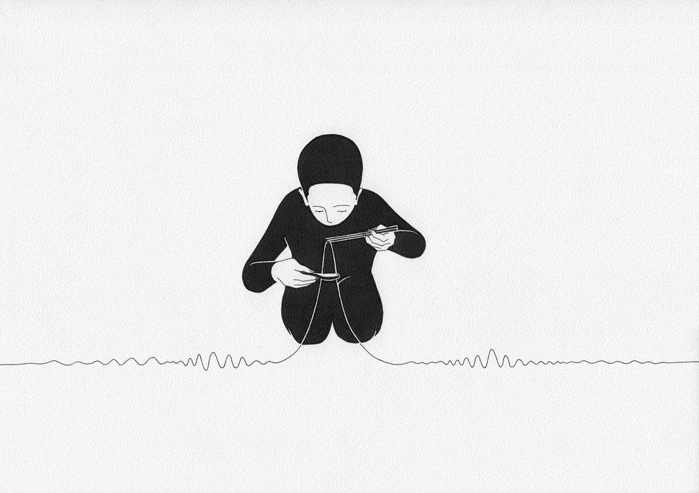 소리 한가락 / Eat sound Op.0094CS-1 -29.7 x 21 cm,종이에 펜, 마커 / Pigment liner and marker on paper, 2015 Commissioned by Maison Kitsuné