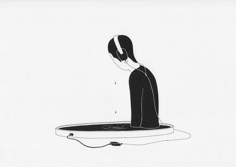 슬픔증폭기 / Sadness amplifier Op.0094CS-2 -29.7 x 21 cm,종이에 펜, 마커 / Pigment liner and marker on paper, 2015 Commissioned by Maison Kitsuné