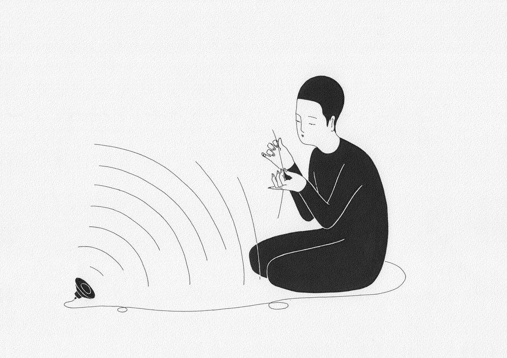 소리의 질감 / Touching sound Op.0094CS-5 -29.7 x 21 cm,종이에 펜, 마커 / Pigment liner and marker on paper, 2015 Commissioned by Maison Kitsuné