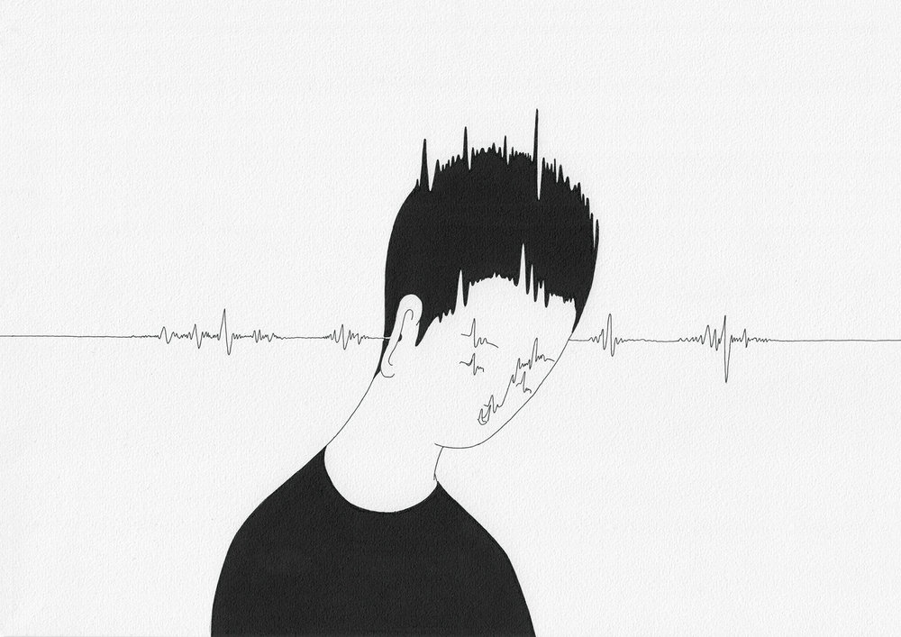 찌릿   /   Feel a thrill  Op. 0094CS-7 - 29.7 x 21 cm,  종이에 펜, 마커 / Pigment liner and marker on paper, 2015  Commissioned by Maison Kitsuné