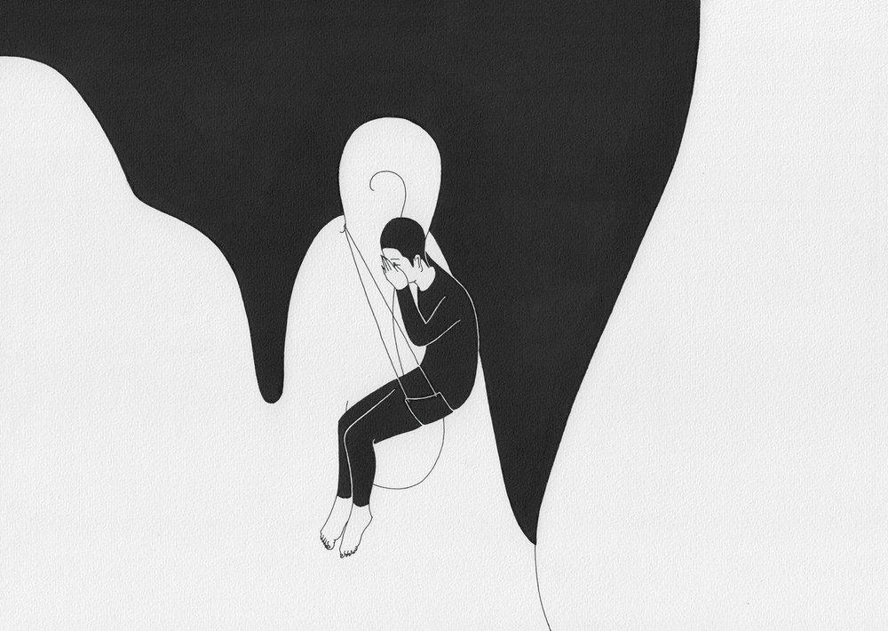 밀어 / Whispering Op.0094CS-8 -29.7 x 21 cm,종이에 펜, 마커 / Pigment liner and marker on paper, 2015 Commissioned by Maison Kitsuné