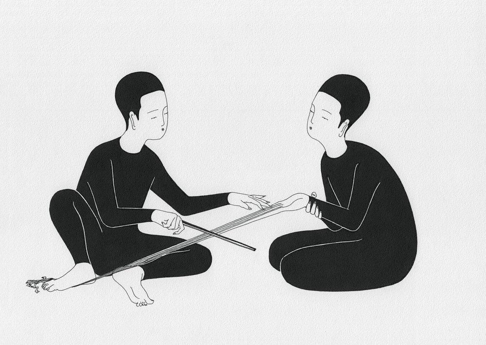 몸의 음 / Playing body Op.0094CS-11 -29.7 x 21 cm,종이에 펜, 마커 / Pigment liner and marker on paper, 2015 Commissioned by Maison Kitsuné