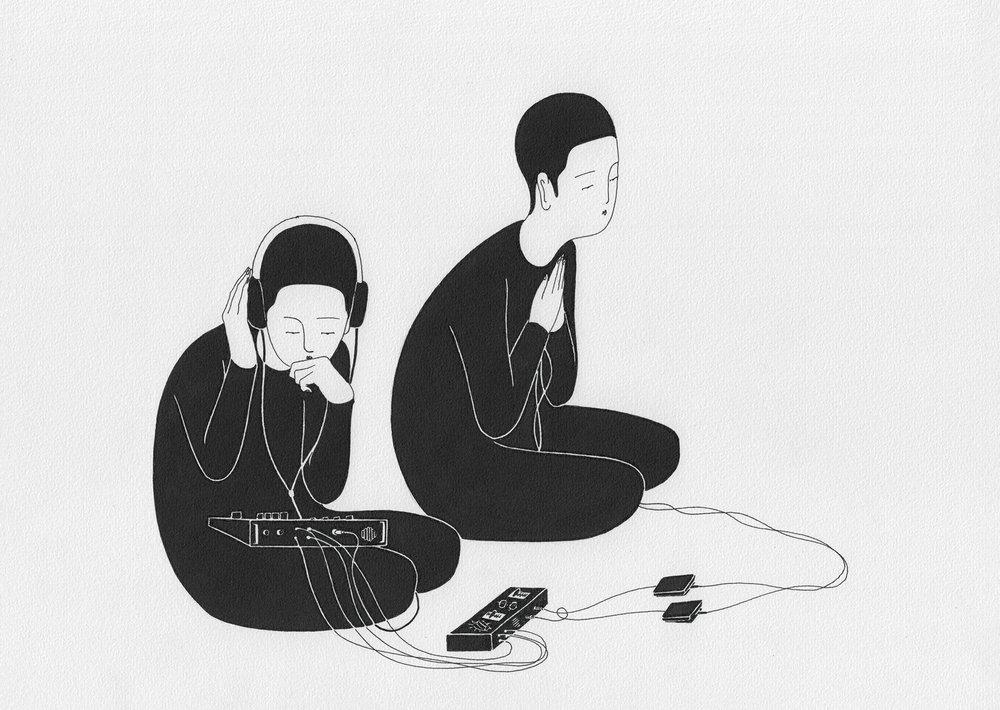 마음의 소리 / Listen to your heart Op.0094CS-11 -29.7 x 21 cm,종이에 펜, 마커 / Pigment liner and marker on paper, 2015 Commissioned by Maison Kitsuné