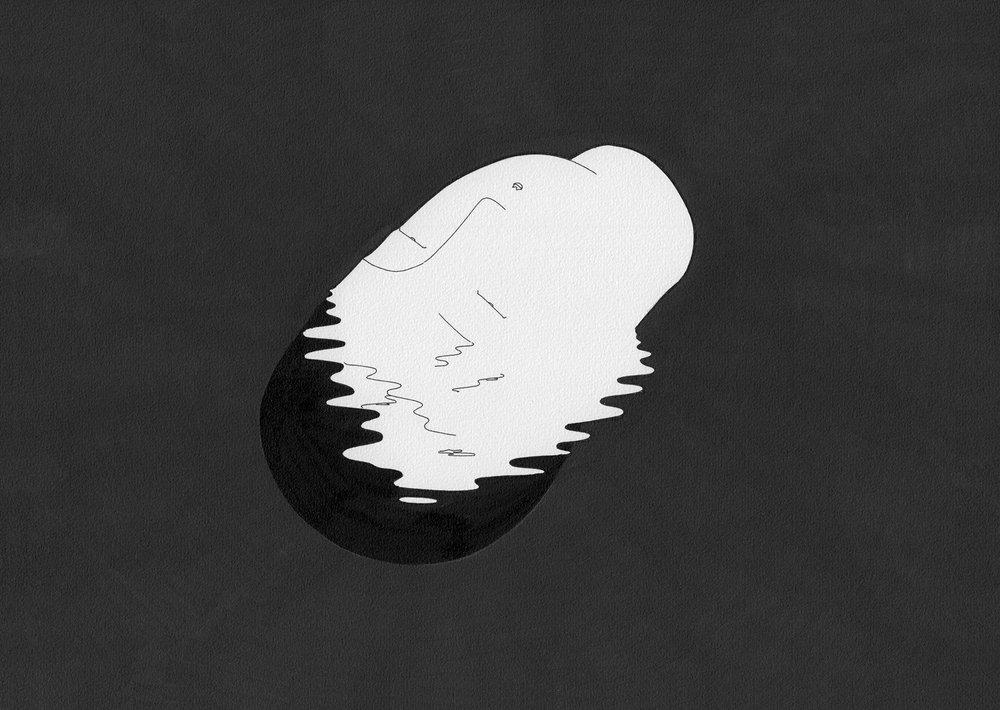 용융 / Cool head Op.0094CS-15 -29.7 x 21 cm,종이에 펜, 마커, 잉크 / Pigment liner, marker, and ink on paper, 2015 Commissioned by Maison Kitsuné